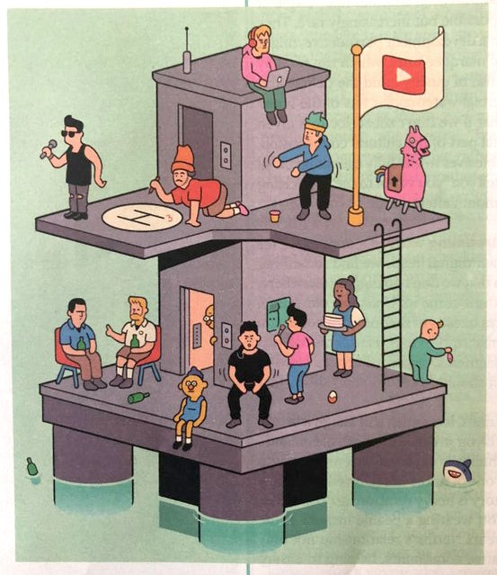 """Mike and Jay @redlettermedia immortalized in @nytimes illustration for magazine article """"The Great Race to Rule Streaming TV""""  July 10th, 2019"""