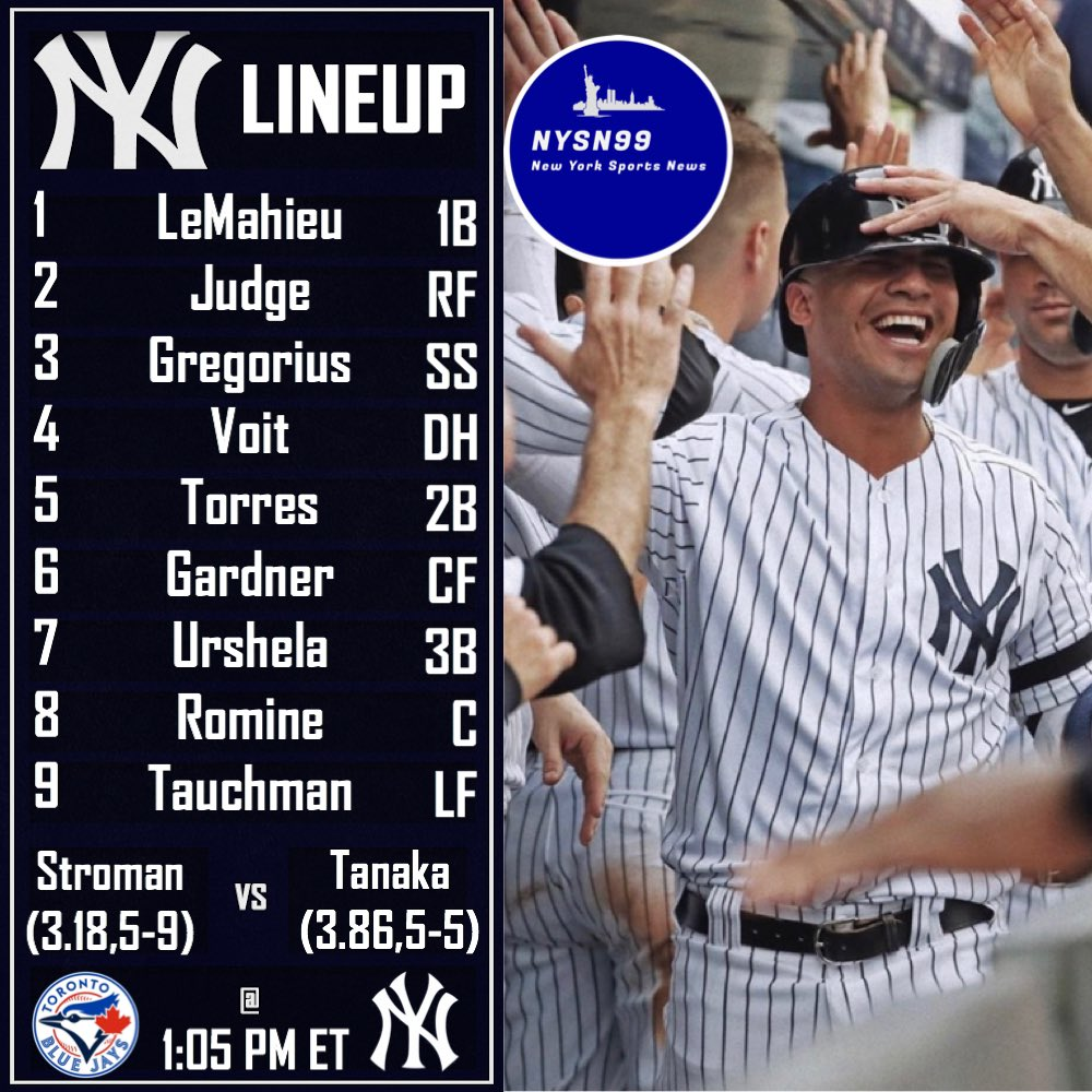The Yankees take on the Blue Jays today at 1:05 PM ET in the the series finale #letsgoyankees