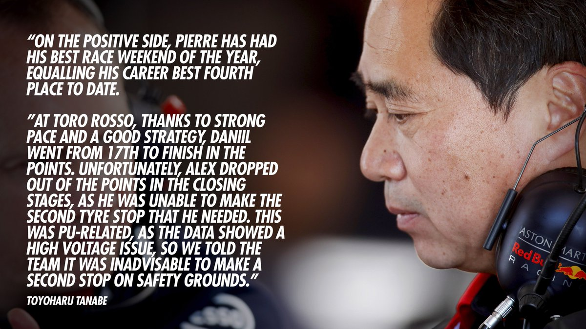 """It is very disappointing to have lost what looked like a certain podium finish with Max because of the accident, when he was running so strongly.""  Tanabe-san 🗣️ With some extra info on Alex's car too. Full quote to follow.   #PoweredByHonda"