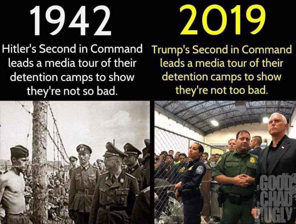 We were thinking the same thing when we first saw images of @VP on the right in the detention centers... and then shortly thereafter these sort of photos popped up #staffingfail #FakeChristian<br>http://pic.twitter.com/AI21Qxe5yv