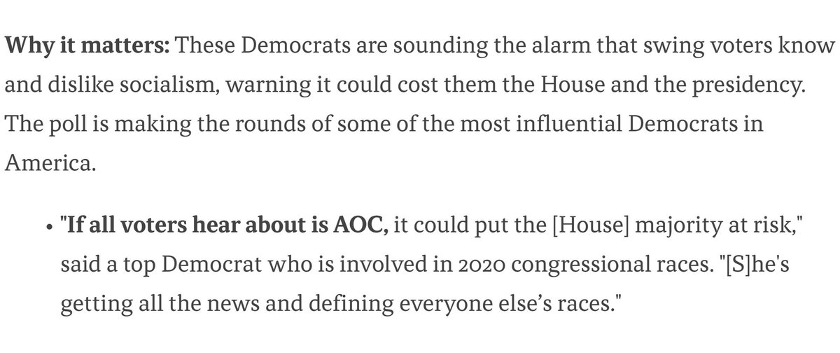 New internal Democrat poll reported on by Axios:  Ocasio-Cortez: Recognized by 74% of voters in the poll; 22% had a favorable view  Ilhan Omar: Recognized by 53% of the voters; only 9% (not a typo) had a favorable view