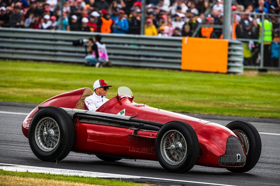 Kimi Räikkönen and the Alfetta - Two legends together celebrating the first victory in the history of @f1 🏆https://www.instagram.com/p/Bz5ZTv9ox1e/  • @kimimatiasraikkonen @museoalfaromeo #BritishGP #Alfetta #GetCloser @alfaromeoofficial