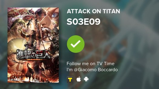 test Twitter Media - I've just watched episode S03E09 of Attack on Titan! #AttackOnTitan  #tvtime https://t.co/loRSGGNPB0 https://t.co/RcSNP3tvm3