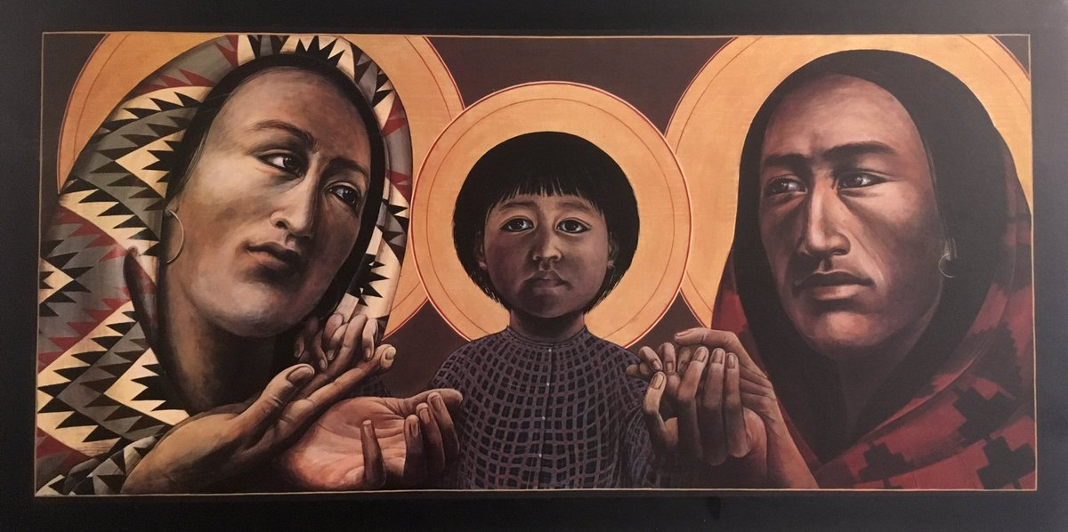 Spent time with the Woyatan church this morning. Eyes wide open. Sage cleansing. Drums. Loud clear voices. New understanding of my / our trespasses. And this great image of the holy family by Fr John Giuliani. #sage #fatherjohngiuliani #holyfamily #woyatan