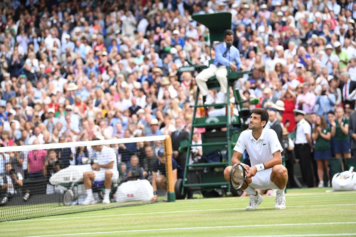INCREDIBLE.   After saving 2 Championship points, Novak Djokovic is the 2019 Wimbledon Singles champion  The now 5-time champion has successfully defended his title!  #Wimbledon #JoinTheStory <br>http://pic.twitter.com/VRghkzVDT8