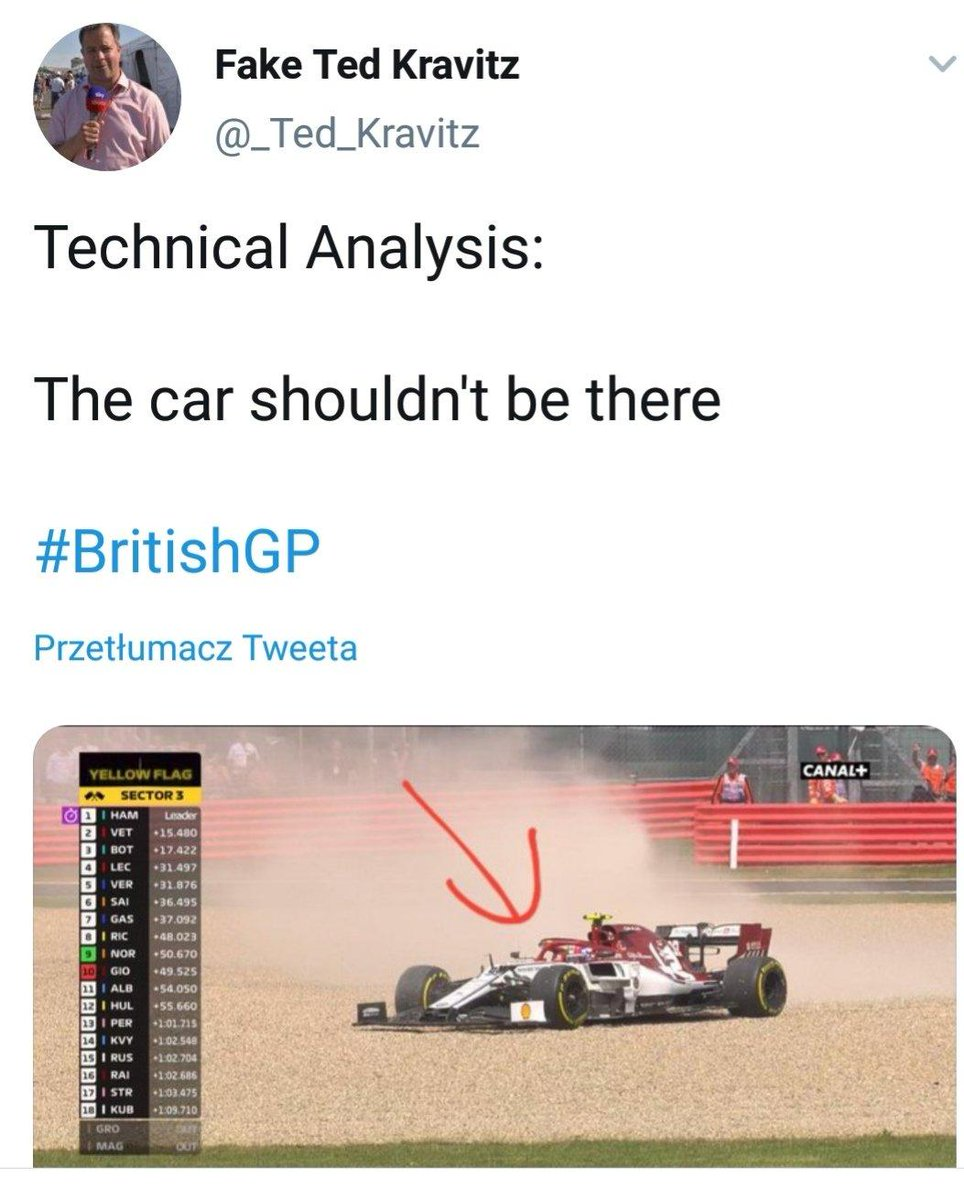 Perfekcyjna analiza wydarzenia na torze: #F1 #Formula1 #ElevenF1  #BritishGP #Silverstone @Anto_Giovinazzi  😅👌