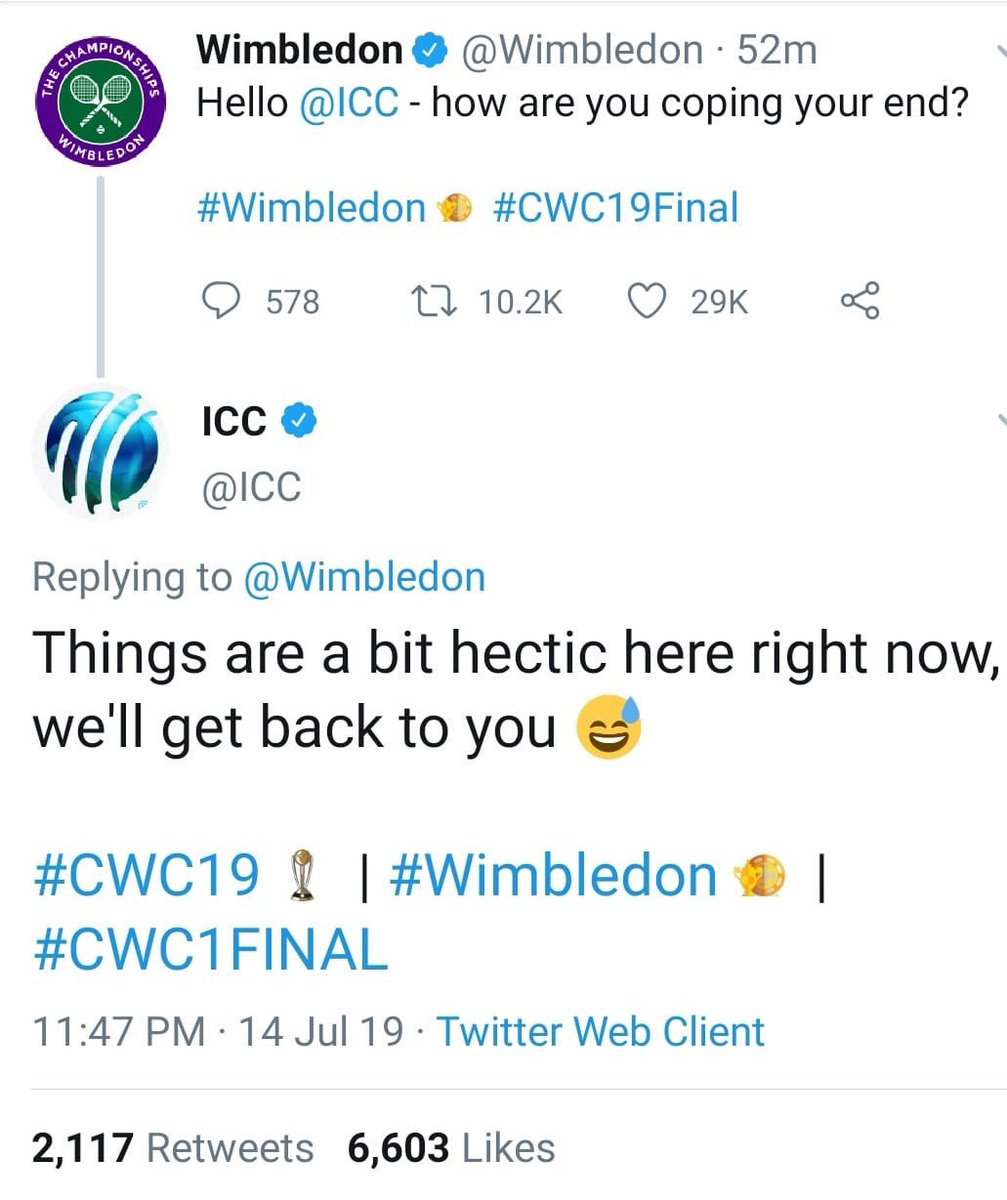 This got to be the wittiest tweet of the day  #ICCWorldCup2019 #WimbledonFinal<br>http://pic.twitter.com/AJvdwqgvhN