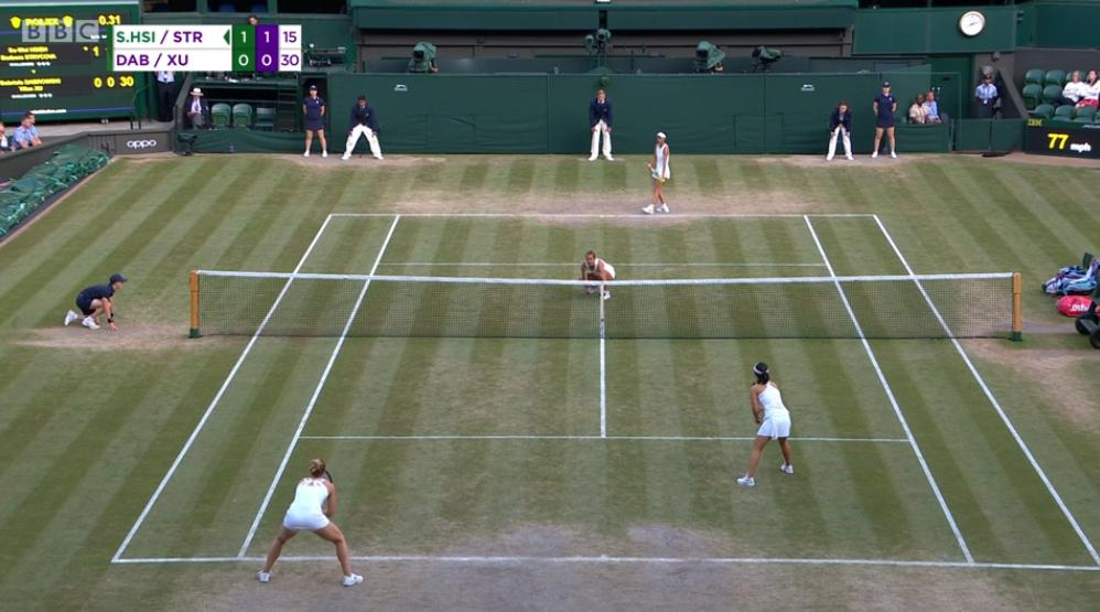 The battle rumbles on in the women's doubles final.Su-Wei Hsieh and Barbora Strycova v Gabriela Dabrowski and Yifan Xu LIVE @BBCTwo 👉https://bbc.in/32tCOje #bbctennis