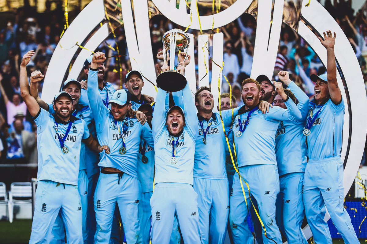 🏴 @EnglandCricket in @CricketWorldCup finals:  📆 1979: 🥈 Lost final to @WindiesCricket  📆 1987: 🥈 Lost final to @CricketAus  📆 1992: 🥈 Lost final to @TheRealPCB   📆 2019: 🏆 Beat @BlackCaps in the final  😅 4th time lucky!  🏏 'Cricket's coming home!'