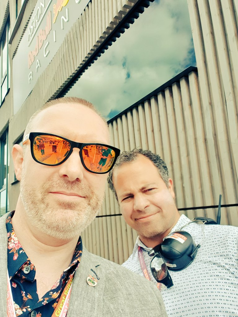 Rarely do selfies, but couldn't resist one with @tedkravitz in the paddock in front of the @redbullracing Energy Station.... #BritishGP #F1 #TedsNotebook #TedKravitz #SkyF1