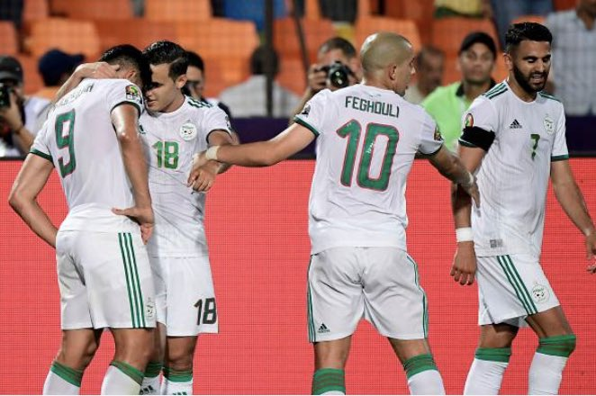 IS FOOTBALL COMING HOME?  Algeria deservedly lead 1-0 at half-time against Nigeria after some brilliant skills by Mahrez saw Ekong put the ball into his own net. Bounedjah missed a huge chance. We are 45 minutes from the final of AFCON 2019. #ALGNGA<br>http://pic.twitter.com/YH8Yjkb9Zu