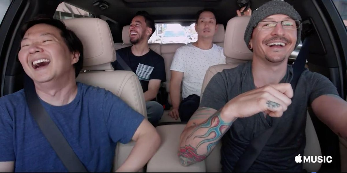 Two years ago today, Linkin Park filmed their episode of Carpool Karaoke with Chester, Mike, Joe, and Ken Jeong.  The episode was released in October 2017 with permission from Talinda Bennington and Linkin Park. <br>http://pic.twitter.com/qUdEkFZEFk