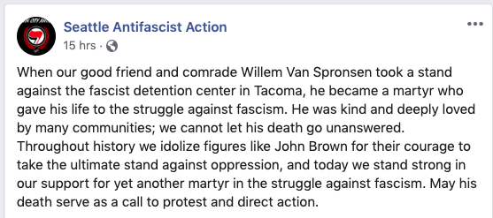 "Seattle Antifa Action has posted a eulogy & the ICE firebomber's alleged manifesto on its Facebook page that was sent to friends before the attack. In it, he allegedly wrote: ""I am antifa, I stand with comrades around the world..."""