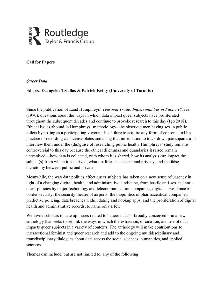 CFP: Queer Data (Routledge), edited by Evangelos Tziallas & @PatrickKeilty (University of Toronto). Please circulate widely!! <br>http://pic.twitter.com/6QdheMJBBk