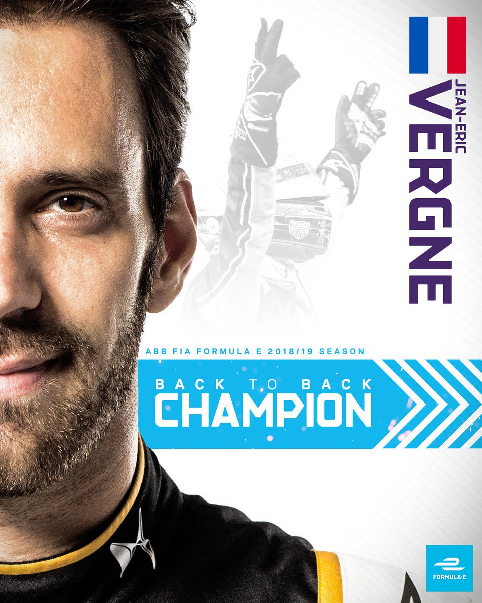 Say hello to the double-champ! @JeanEricVergne claims his second successive ABB FIA Formula E Championship after the 2019 #NYCEPrix 🏆🏆 #ABBFormulaE
