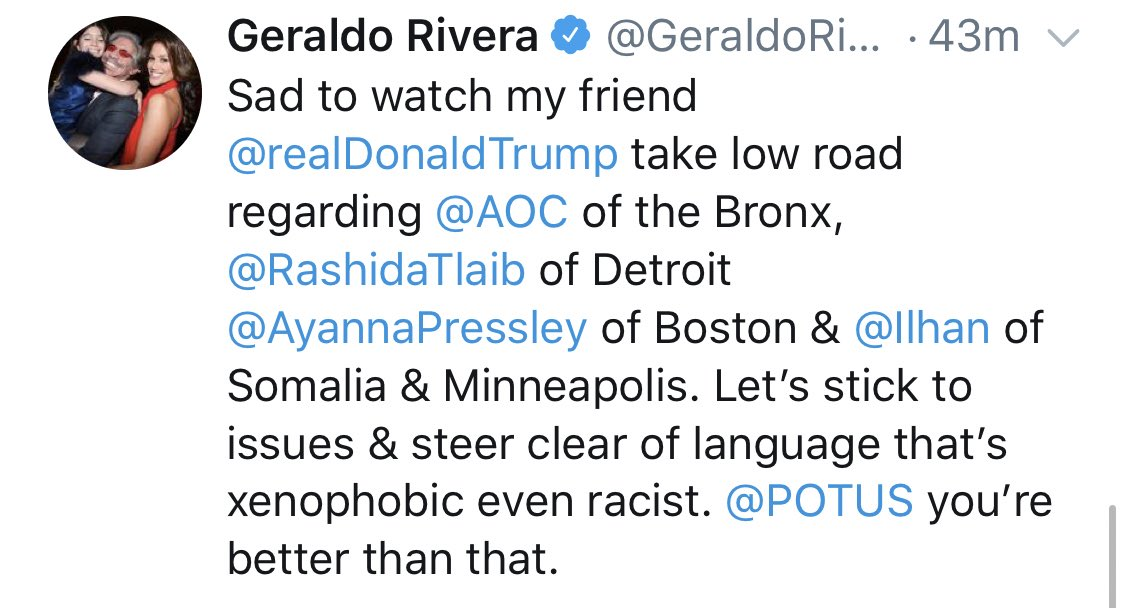 "Geraldo to Trump: ""You're better than that"" racist tweetstorm"