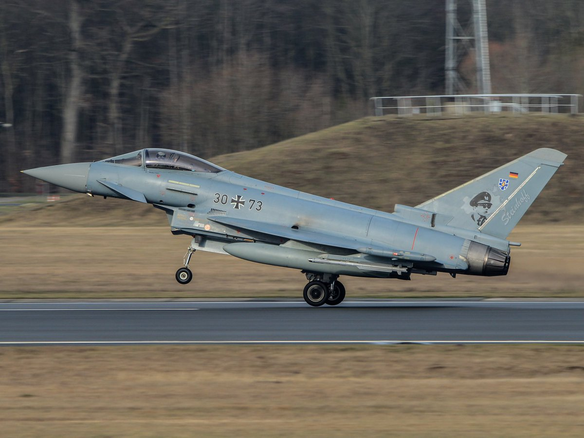 """""""Steinhoff's Typhoons""""  15-year old spotter Moritz Haldi took this great 📸of the 73rd Fighter Wing's flagship at Laage Air Base 🇩🇪 a while back. Moritz's got real talent. Check out his work on Instagram (on.approach). This is worth a cheer, or? 👏#wemakeitfly @AirbusDefence"""