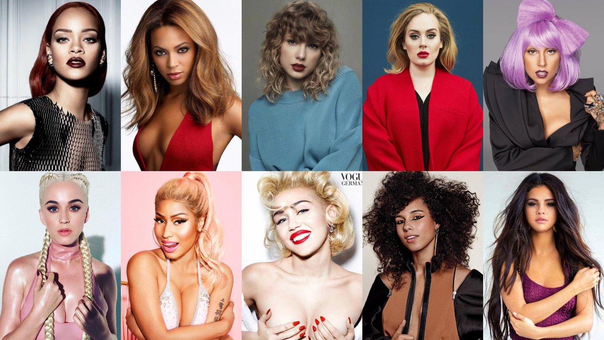Best selling female artists debuted this millennium (pure):  1. Rihanna — 300M 2. Beyoncé — 205M 3. Taylor Swift — 204M 4. Adele — 162M 5. Lady Gaga — 155M 6. Katy Perry — 153M 7. Nicki Minaj — 120M 8. Miley Cyrus — 110M 9. Alicia Keys — 100M 10. Selena Gomez — 80M <br>http://pic.twitter.com/A0WG8ByxDq