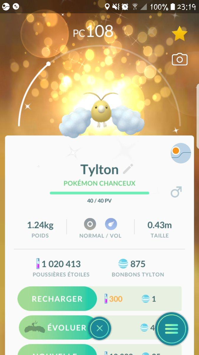 Tylton shiney chanceux 87% On dirait quil est envoyé par les cieux 😁😁😁 #PokemonGO