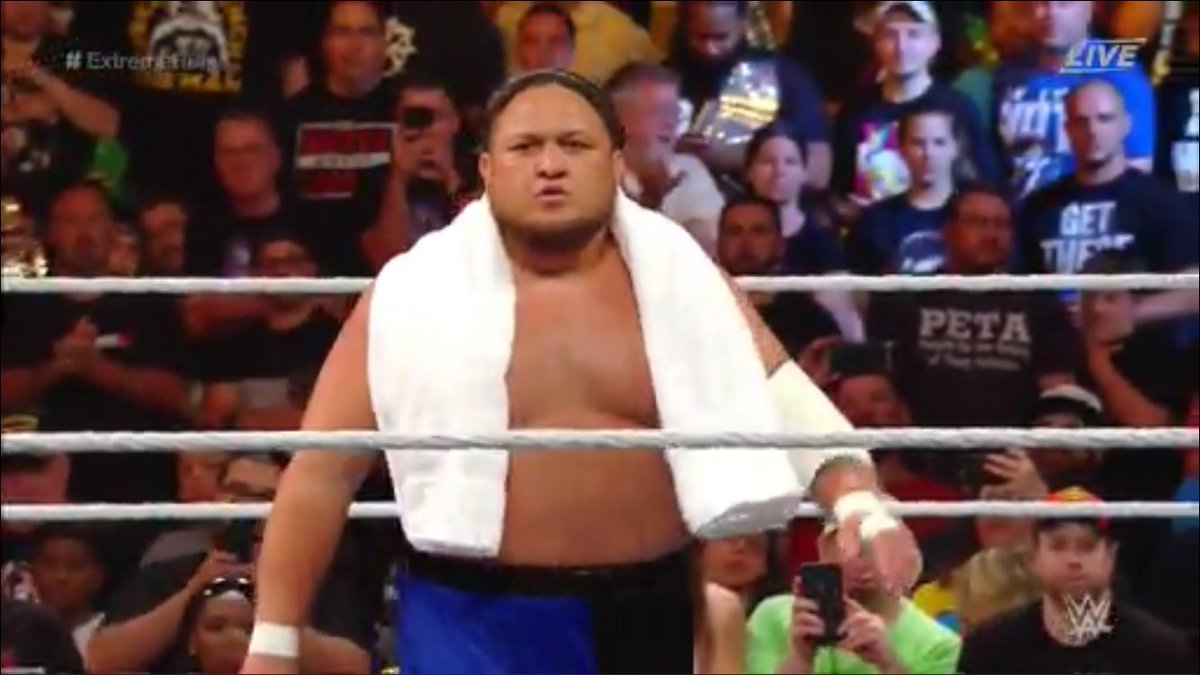 Samoa Joe's towel has witnessed some crazy shit!   #ExtremeRules