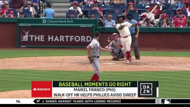 Maikel Franco launches a clutch walk-off home run to give the @Phillies a huge division win! 💥💣🚀  (Brought to you by @StateFarm)