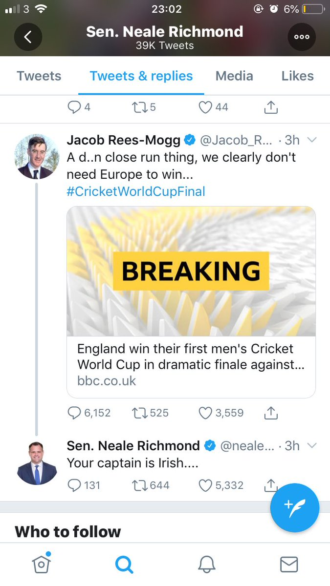 Rees-Mogg bowled for six #brexit #cricket #ICCCricketWorldCup2019 <br>http://pic.twitter.com/XnjMpkebGd