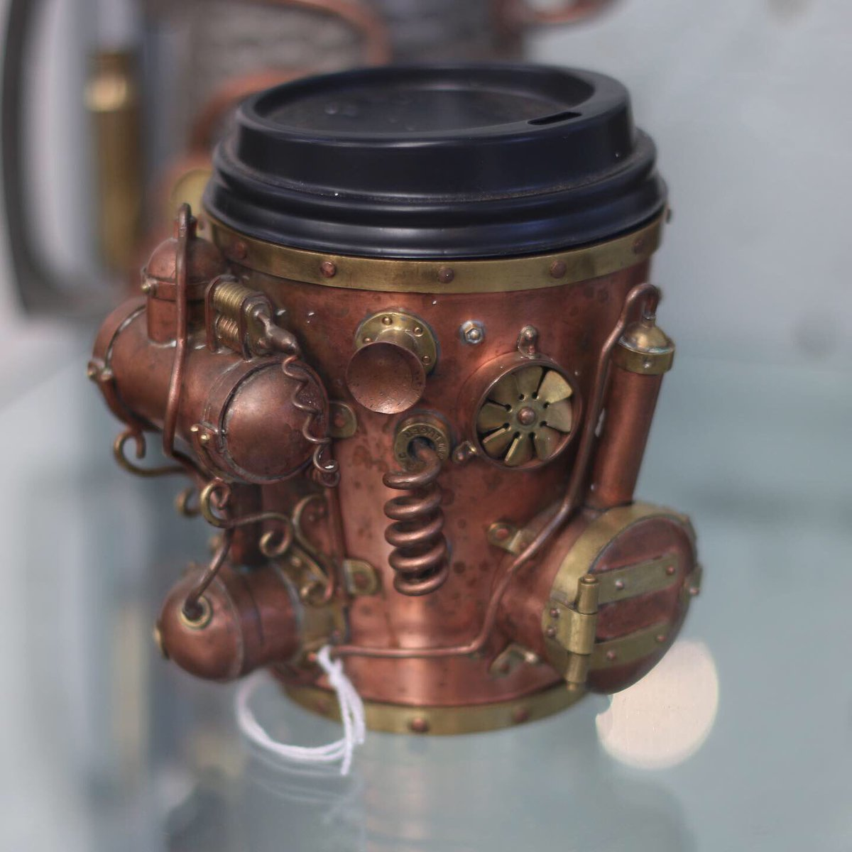 Steampunk coffee cup... created by Iain Clark of Oamaru, New Zealand  #steampunk #coffee #oamaru