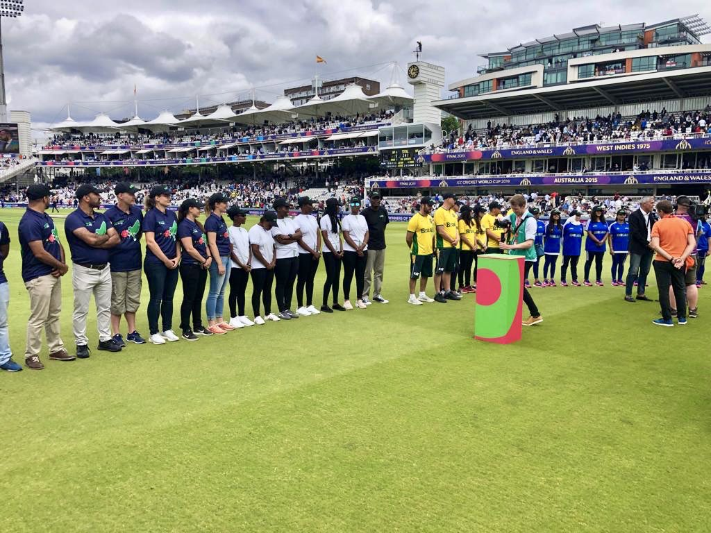 The criiio cup teams @RwaCricketAssoc @CricketIndo @brasil_cricket @ECB_cricket @Cricket_Germany @BCCI were welcomed onto the pitch at the mid-innings break of the final today.  The trophy was presented to Team India by Sir Clive Lloyd.  An incredible day. #criiio @HomeOfCricket