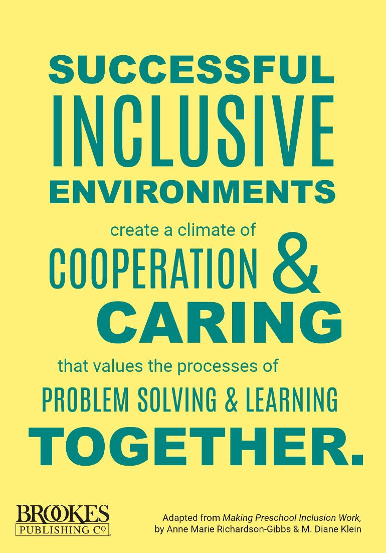 Successful inclusive classrooms create a climate of cooperation and caring. #inclusion #quote