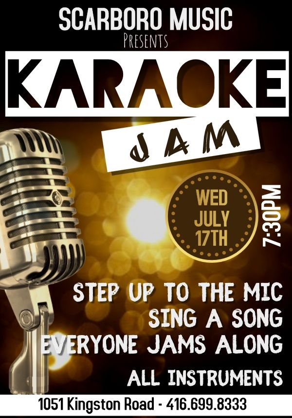 W E D N E S D A Y - JULY 17TH - 7:30PM! KARAOKE JAM NIGHT! #Stepup to the mic & #sing your heart out with a room full of musicians jamming along! Free jam night at the #musicstoreonthecorner.  All instruments! #wearemusic #jamnight #karaokejam #toronto #the6ix #upperbeaches<br>http://pic.twitter.com/kGVLtaxFbb