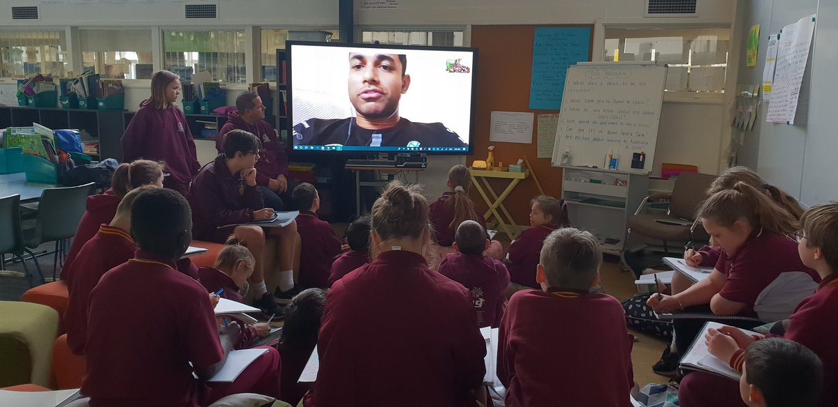 @Evo_Hannan sharing his innovating thoughts with my Ss in Australia. #OGC #ourglobalclassroom