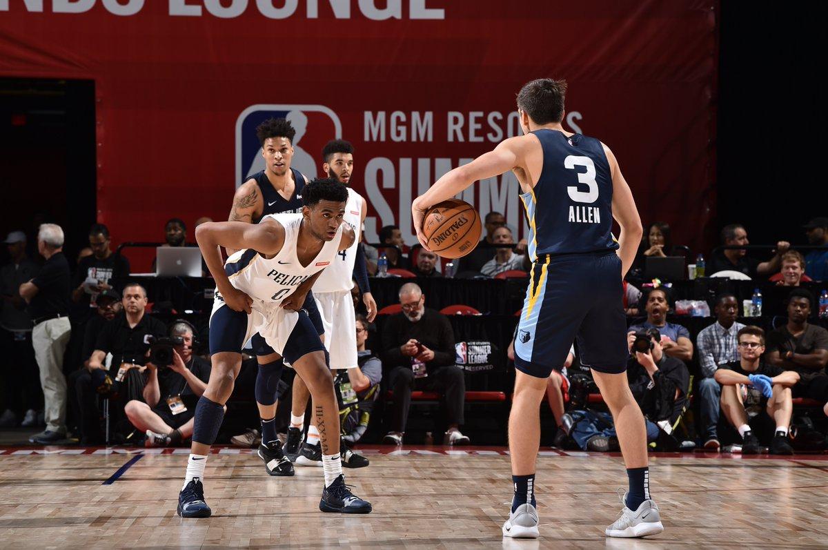 BACK-AND-FORTH ACTION ON ESPN2...  💥 Jaxson Hayes putback layup 💥 Grayson Allen dunk 💥 Trevon Bluiett and-1 bucket  17.1 seconds remaining in the @NBASummerLeague Semis! #NBASummer