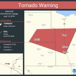 Image for the Tweet beginning: Tornado Warning continues for Milaca