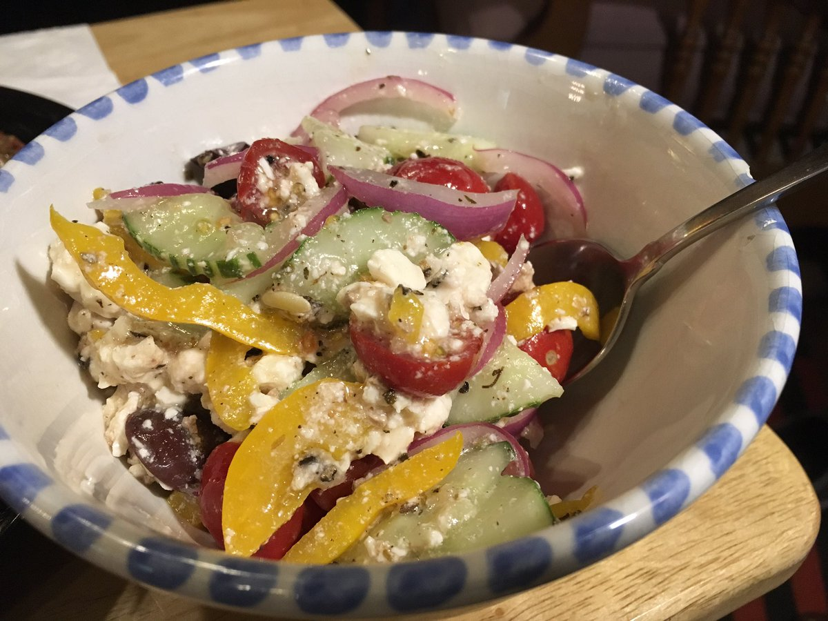 Greek veggie salad. Except for the Feta & kalamatas, all from our garden. Awesomeness!