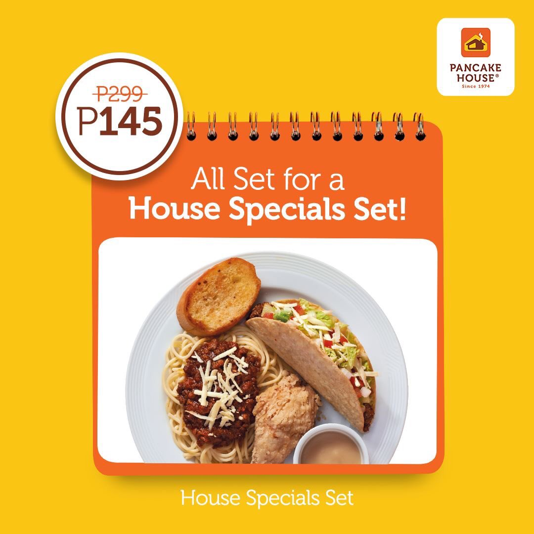 SAVE BIG TODAY! We know you deserve this Monday treat! House Specials Set from P299 down to P145! Taco, chicken, and spaghetti - all in one plate. #ChooseToFeelGood https://t.co/l000Wxh5K3