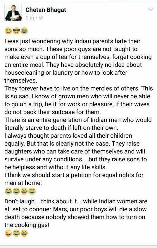 RT @Rajeev4T: Parents hate their sons - @chetan_bhagat 👌👍 https://t.co/MRSXW0dJQt