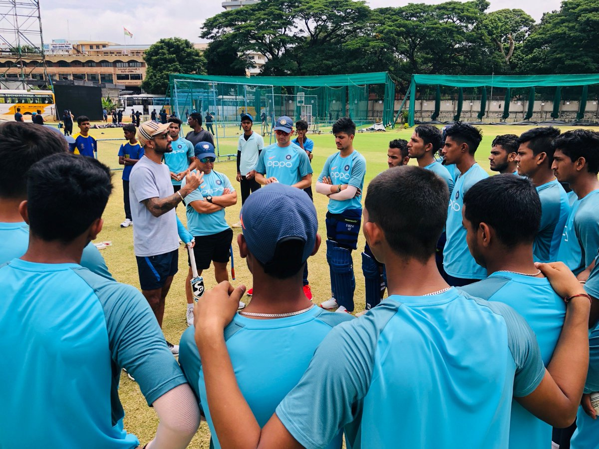 A fine pep talk from @SDhawan25 at the NCA in Bengaluru as India U19 depart for a one-day Tri-series in England today #TeamIndia