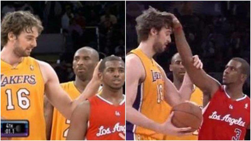 NBA的摸頭狂人:保羅反摸大Gasol,聯盟沒有Garnett不敢摸的頭!