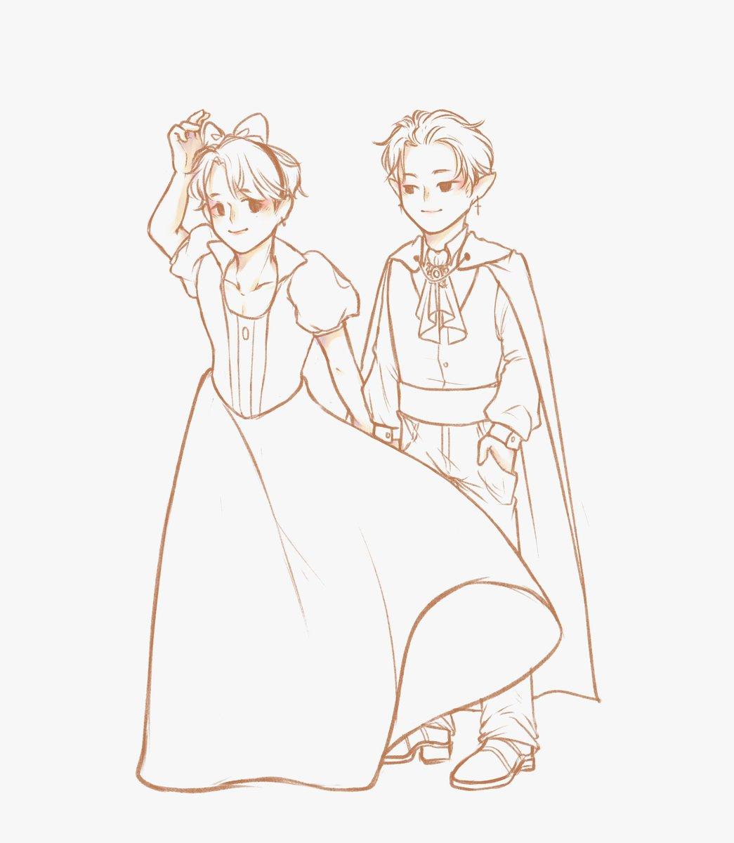#wip fanart of snow white!dongju and vampire prince!geonhak (based off their halloween costumes) 🎃 #ONEUS #원어스 #이도 #시온