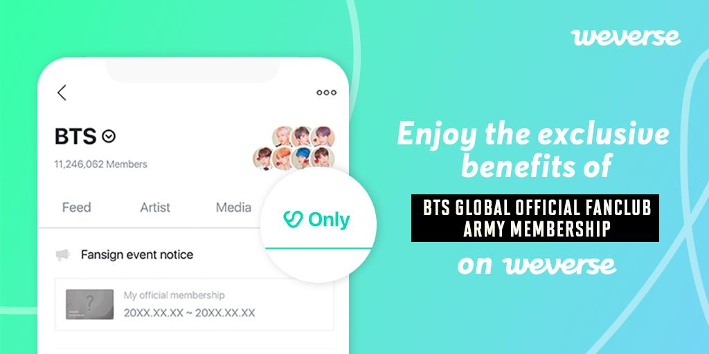 """Uživatel Weverse na Twitteru: """"BTS GLOBAL OFFICIAL FANCLUB ARMY MEMBERSHIP  is now open! 💜 ✓ Join on Weply! ✓ Special and exclusive contents on  #BTSWeverse! ✓ Join today and enjoy your membership"""