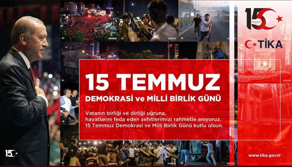Three years ago, terrorists in uniform attacked Turkey on Fetullah Gulen's orders. The treacherous attack was defeated by the courage of our nation.  We commemorate our martyrs and veterans with respect and prayers. Happy Democracy and National Unity Day! #15TemmuzGecesi
