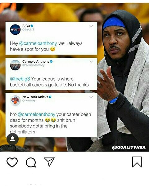 Melo be Mad ASF!!😂💯😬😬 @qualitynba go check'em out thank for this post  #melo #KNICKS #big3 #big3basketball #carmeloanthony  Should Melo retire? What y'all think