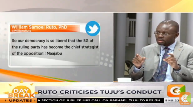 Moses Kajwang: I found DP Ruto's tweet on Tuju to be completely out of place because I do not think Tuju is at the same level as DP Ruto  #DayBreak @SamGituku @Zindzi_K<br>http://pic.twitter.com/wgI3r2o0MV