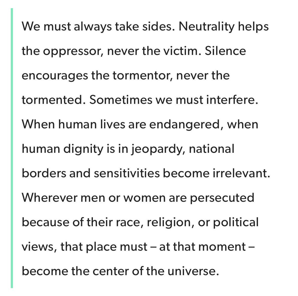 """Elie Wiesel in his book """"Night, a memoir about surviving the Holocaust..."""