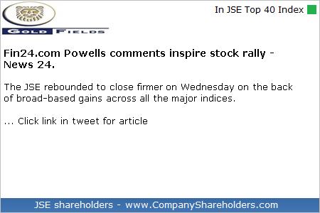 #GoldFields #GFIELDS $JSEGFI - View news article: http://dlvr.it/R8QPvV