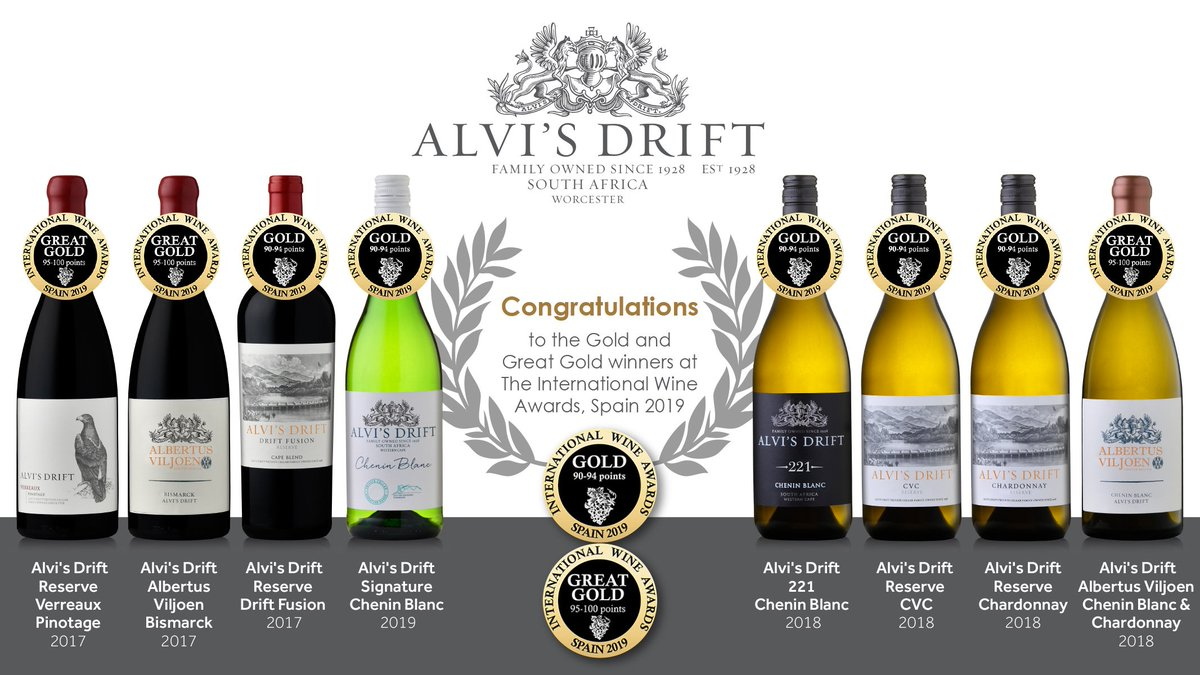 Congratulations to all involved. Great Gold and Gold at the International Wine Guide for Spain 2019.  #Congratulations #Winemaking #WineAwards #InternationalWineGuide2019 #Spain #AlvisDrift #GreatGoldAward #GoldAward #SouthAfrica #WorcesterWineRoute #Wine