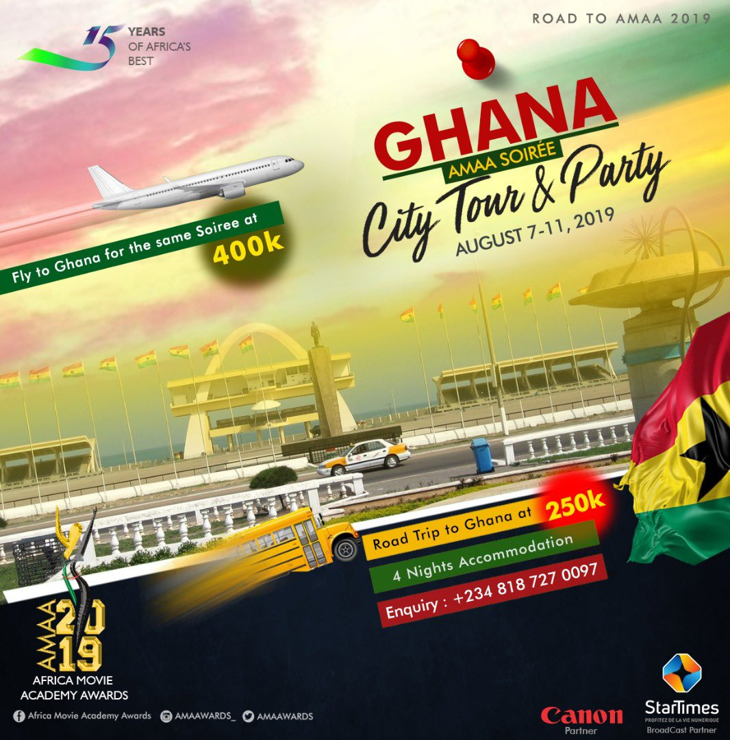 Fun lovers Are you looking to spend the summer holiday in Ghana? There is something in this holiday for everyone as we take on Ghana from the 7th to 11th of August. Whats in this for you? #RoadToAMAA2018 #Ghana #Africa /1
