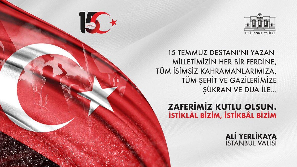 15 Temmuz Destanı'nı yazan milletimizin her bir ferdine,  tüm isimsiz kahramanlarımıza, tüm şehit ve gazilerimize  şükran ve dua ile...  Zaferimiz kutlu olsun. İstiklâl Bizim, İstikbâl Bizim!  #15TemmuzDestanı