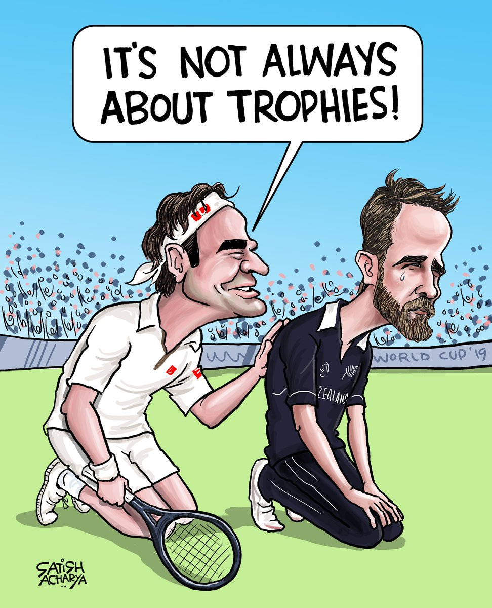 #RogerFederer - Lost the last two #Wimbledon finals.  #NewZealand - Lost the last two #WorldCup finals.  But, sport isn't all about winning trophies. At the end of the day, both rightfully walked away with their heads held high.  : @satishacharya  #WimbledonFinal #CWC19Final<br>http://pic.twitter.com/WEqn3XJIkf