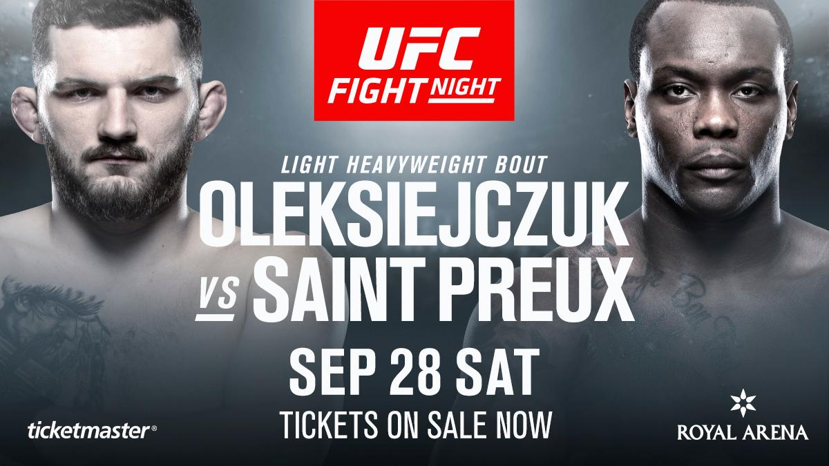 What's Danish for knockout?! Michal Oleksiejczuk vs Ovince Saint Preux added to #UFCCopenhagen! 🇩🇰  🎟 http://bit.ly/2Y4hIIM